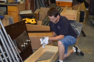 Robert polishing a rank for the Shelbyville organ